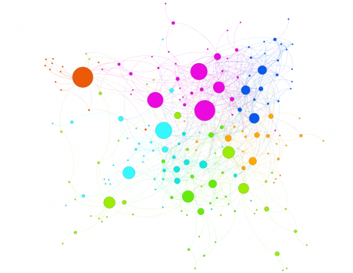 Facebook volunteer group network visualization in Gephi