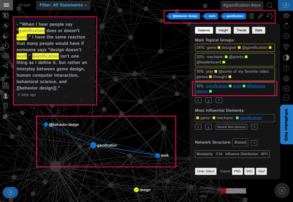 Selecting the nodes on the graph lets us get to the block with the relevant content